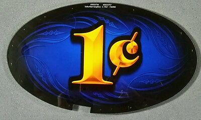 Atronic Slot Machine Topper Insert 1 ONE CENT Blue/Yellow