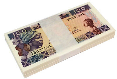 GUINEA 100 FRANCS 1998 P 35 UNC (BUNDLE of 100 NOTES)