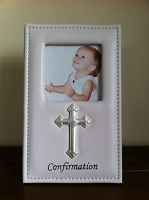 Confirmation Day White Photo Frame/Gift Leather/Vinyl