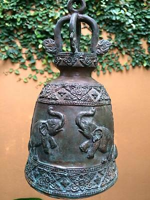 Thai Bell Temple Buddha Chime Antique Flower Elephant Decor Hang Collectible Art