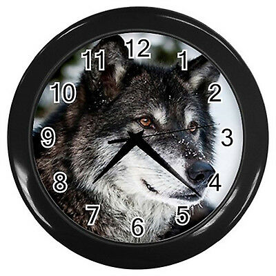 Wolf Wall Clock (Black)