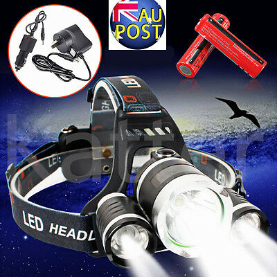 13000Lm 3 Cree XM-L T6 LED Headlight Headlamp Torch Rechargeable 2 x 18650 AC
