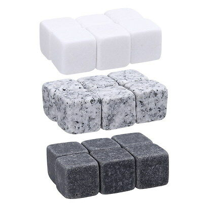 6pcs Whisky Stones Drinks Cooler Cubes Whiskey Rocks Granite Ice Stones w/ Bag