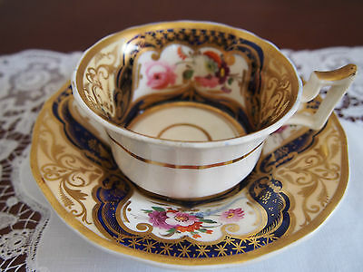 Antique Ridgway or Yates Hand Painted Cup and Saucer
