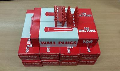 1000 Red Rawlplug deal , Drill size 5.5 / 6mm, Screw Size 6-10 - Free Delivery !