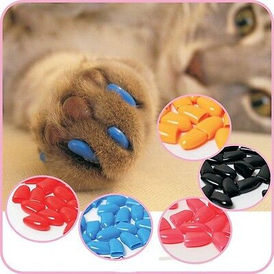 20Pcs Candy Color Silicone Pet Dog Cat Kitten Paw Claw Control Nail Caps Cover