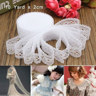 10 Yard Vintage White Crochet Lace Embroidered Ribbon Wedding Bridal Sewing Trim