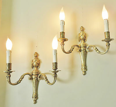 Gorgeous Pair Antique French Empire Sconces Wall Lights Quality Bronze Appliques