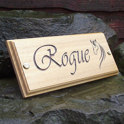 Horse Name Plate Stable Door Plaque (Vivaldi Font & Horse Head Logo) Custom Made