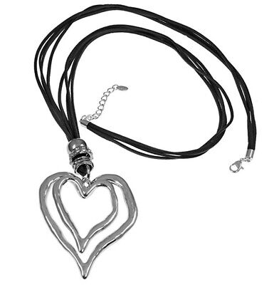 Lagenlook large silver double heart pendant CZ black suede long necklace