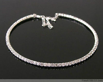 Clear Crystal Rhinestone Bridal Choker Necklace SILVER 1 2 3 4 or 5 Rows
