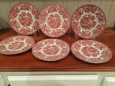 Set Of 6 Tonquin By Myott red & White Transfer Printed Side Plates