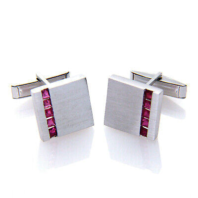 925 Sterling Silver Square Real Genuine Ruby Gemstone Cufflinks Mens Gifts
