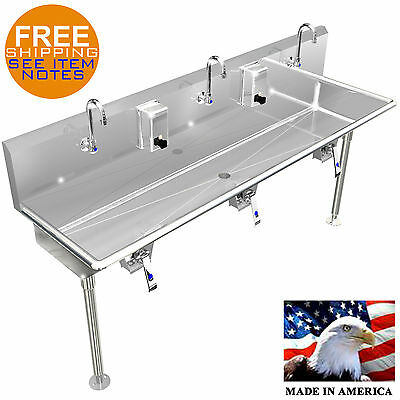 "Multi Station 3 Users Hand Sink Wash Up 72"" Knee Valve Stainless Stl Made In Usa"