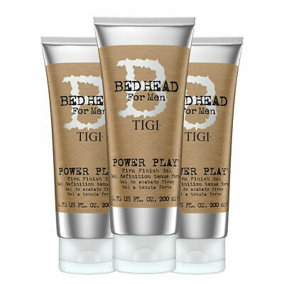 Tigi Bed Head For Men Power Play Firm Finish Gel 200ml 3 PEZZI gel tenuta forte