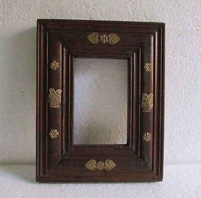 Vintage old Beautiful Decorative Brass Fitted Unique shape Wooden Photo Frame