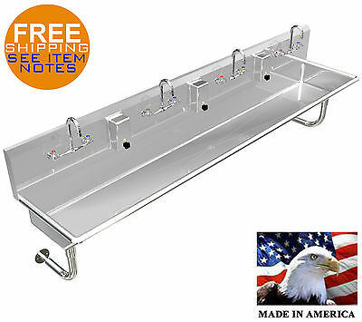 """Multistation 4 Wash-Up Hand Sink H.d. Stainless S 80"""" Manual Faucets Made In Usa"""