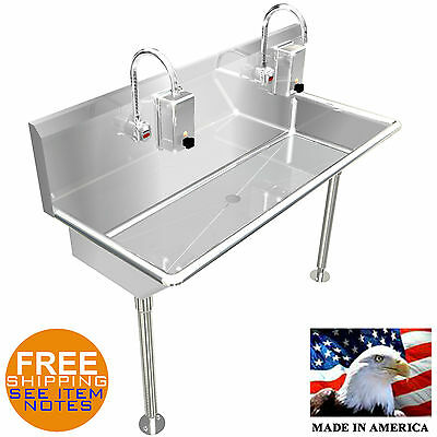 "Hand Sink Industrial 2 Users Multi Station 48"" Hands Free E. Fuacet Made In Usa"