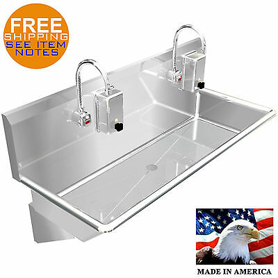 "Hand Sink 2 Users 40"" Automatic Electronic Faucet 304 Stainless Steel Heavy Duty"