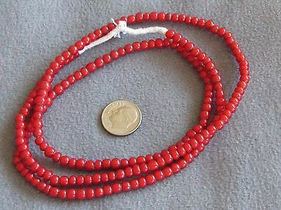 """26"""" Str Vintage African Glass Trade Beads, Red White Hearts 5mm"""