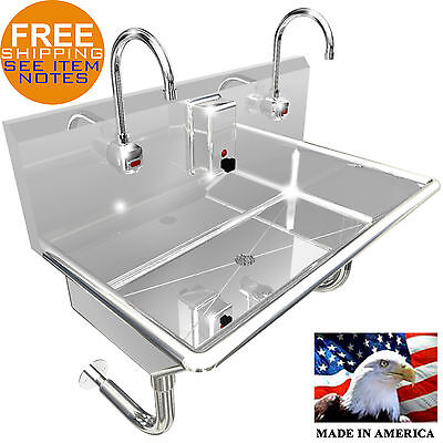 "2 Station 36"" Wash Up Sink Hands Free Heavy Duty 304 Stainless Steel Ele. Faucet"