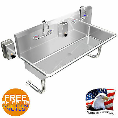 "Hand Sink Industrial Multistation 2 Wash Up Basin 48"" Manual Faucet Made In Usa"