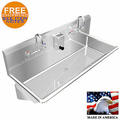"Multi User Wash Up Hand Sink 2 Person 40"" Wall Mount Heavy Duty Stainless Steel"