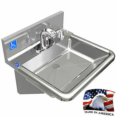 Ada Hand Sink Made In Usa, No Lead Electronic Sloan Faucet Welded Drain Heavy D.
