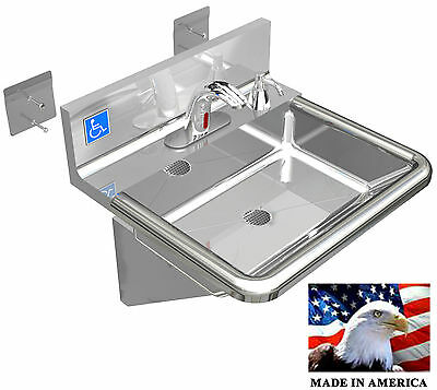 Ada Hand Sink Made In Usa Stainless Steel 304 Electronic Faucet Liquid Dispenser