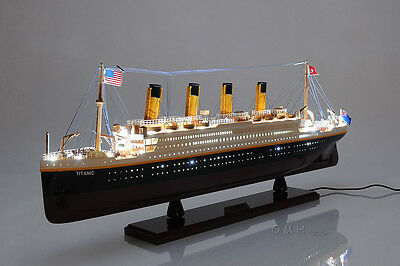 "RMS Titanic Cruise Ship with Lights 32"" Ocean Liner Wooden Model Ship Assembled"