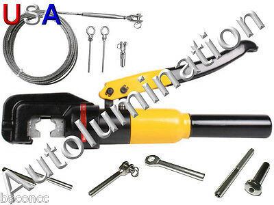 Stainless Steel Cable Hand Rail Hydraulic Crimper Crimp Swage Swaging Tool Dies