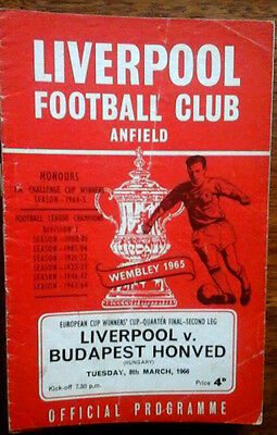 Liverpool V Honved 8/3/1966 European Cup Winners Cup Q.f.