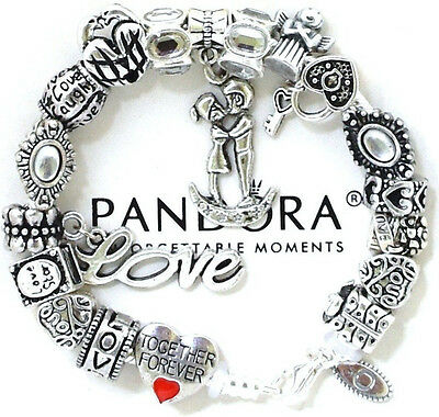 """Authentic Pandora 925 Silver Bracelet Red """"Love Story"""" Wife European Charms New"""