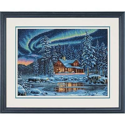 Dimensions - Counted Gold Cross Stitch Kit -Aurora Cabin - Lake - D35212