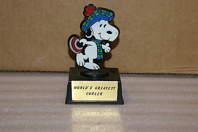 Vintage Peanuts Snoopy Worlds Greatest Curler Trophy Curling Aviva RARE