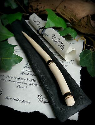Rowan Wood Wand with Banded design and Bag Wicca Pagan Witchcraft Spells Altar