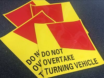 4pcs Vinyl Do Not Overtake Turning Vehicle Sign Truck sticker