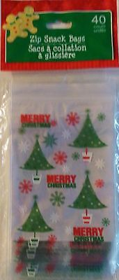 Zip Snack ~ Trees New CHRISTMAS CELLO PARTY GIFT BAGS TREAT BAGS 40 Ct