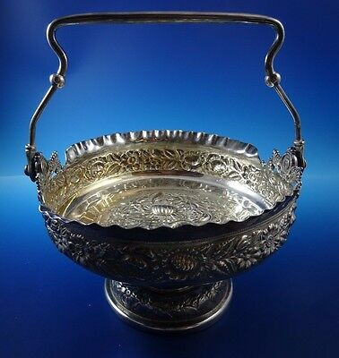 Beautiful Silverplate Repousse Style Victorian Basket Bowl with Handle