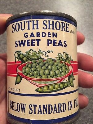 Vintage Unopened 1950s Tin Paper Label  Can South Shore Garden Sweet Peas Sealed