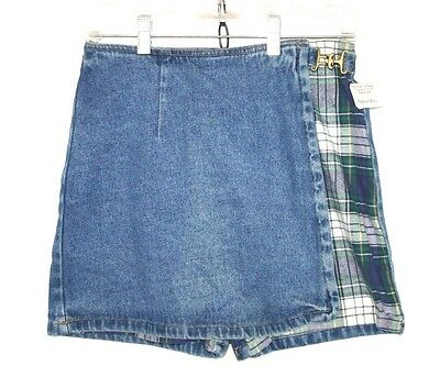 NEW Vintage 90's Wrap Skirt Short Combo FLANNEL Inserts Grunge // S M / w091
