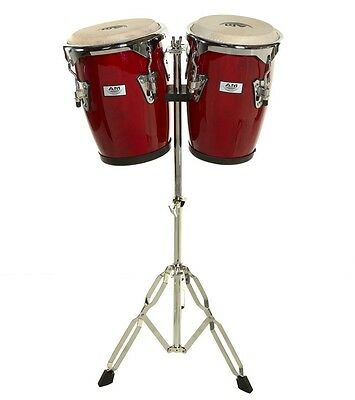"""AM Percussion Congas 9"""" & 10"""" Bongo Conga Set with Stand - RED REAL SKIN"""