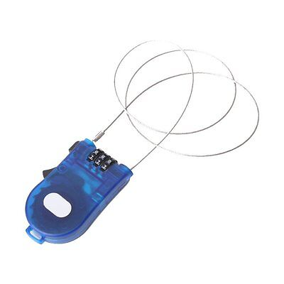 3 Feet Retractable Combination Cable Lock For Bike Luggage Blue
