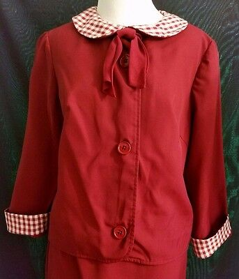 1960s Vintage 2 Piece Burgundy Checkered Peter Pan Collar Dress Skirt Set Small