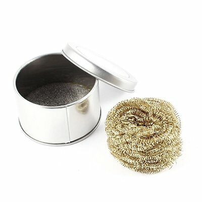 Soldering Iron Tip Cleaning Wire Scrubber Cleaner Ball w Metal Case SH
