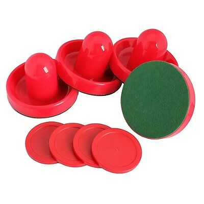 4Pcs Air Hockey Table Goalies with 4pcs Puck Felt Pusher Mallet Grip Color Red