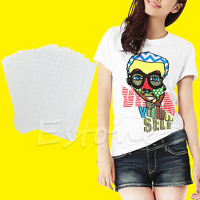 10 Sheets A4 Iron On Inkjet Print Heat Transfer Paper for T-shirt DIY Craft New