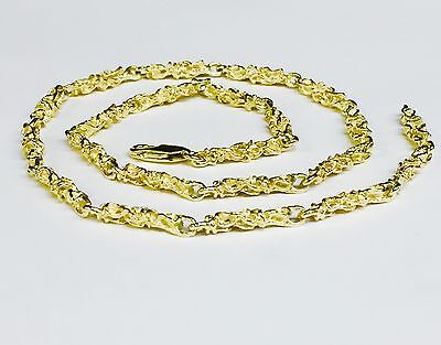 14kt Solid Yellow Gold Handmade NUGGET link chain/necklace 26 35 grams 4.5 MM