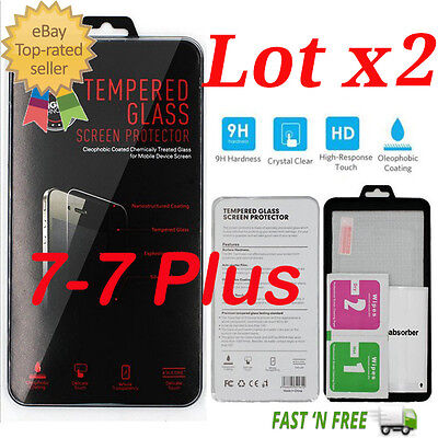 Lot x2 Premium Tempered Glass Screen Protector for Apple iPhone 7, 7 Plus