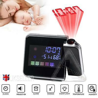 Digital LED Time Projector Weather Thermometer Snooze LCD Colorful Alarm Clock
